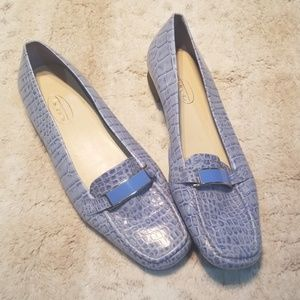 Talbots Baby Blue Leather Skin Looking Wide Flats
